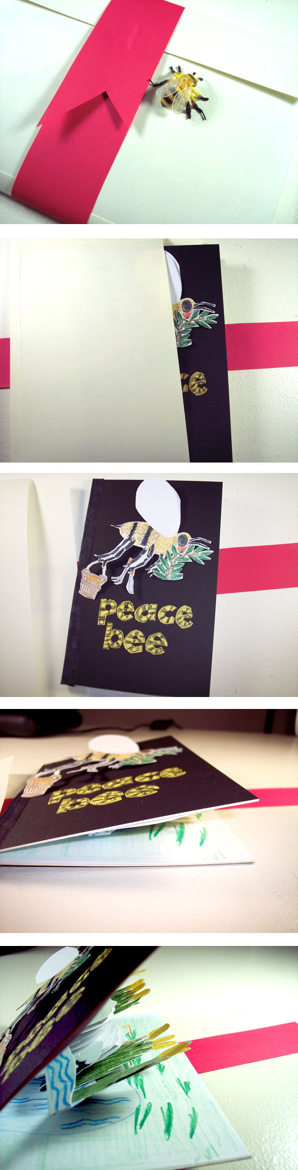 peace bee pop-up card series 1