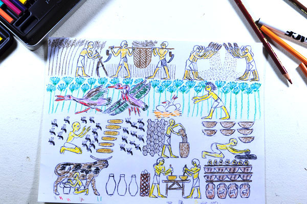 Egyptian cake pop-up card initial sketches