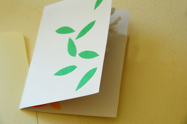 Tree pop-up card cover and slightly opened