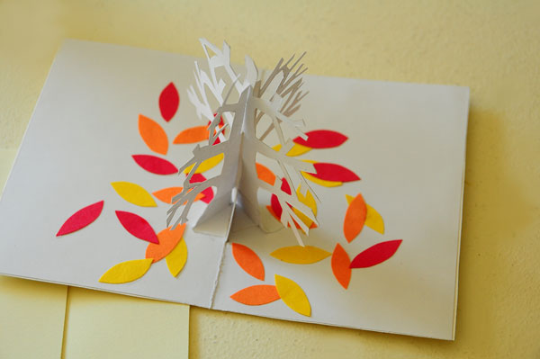 Tree pop-up card cover opened slightly different angle
