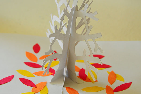 Tree pop-up card cover opening close up