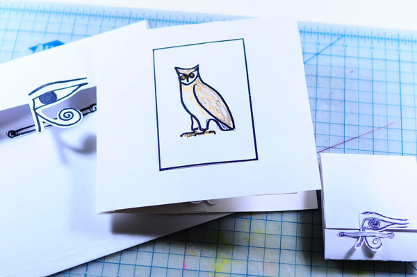 owl hieroglyphic pop-up card cover